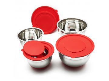 4 tlg. Schüssel Set Edelstahlschüssel mit Deckel Salatschüssel Servierschüssel