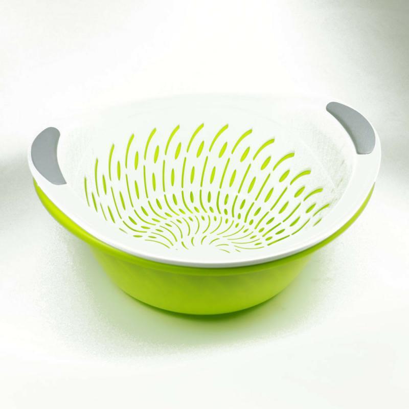 Schüssel Salatschüssel Servierschüssel mit Durchschlag Küchensieb Sieb 2,5 L