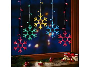 LED Lichterkette Schneeflocke Lichtervorhang Weihnachten Fensterdeko 50 LED´s